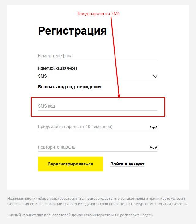 Ввод пароля из SMS